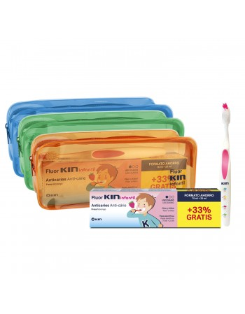 FLUORKIN INFANTIL PASTA DENTÍFRICA (75+25ML) +CEPILLO INFANTIL+NECESER
