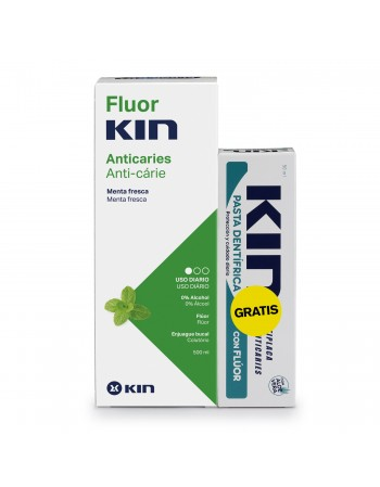 FLUORKIN ANTICARIES ENJUAGUE BUCAL 500 ML +PASTA KIN 50 ML (GRATIS)